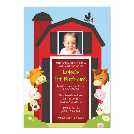 Down on the Farm - Birthday Party Invitation