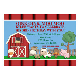 Down on the Farm Kids Birthday Invitation 5
