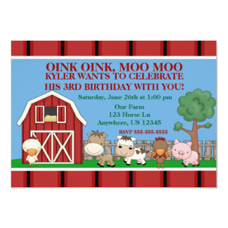 Down on the Farm Kids Birthday Invitation
