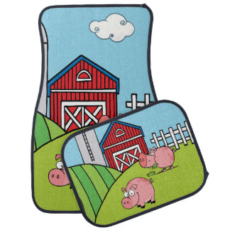 Down on the Farm Pink Pigs Floor Mat
