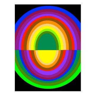 Down side up rainbow half oval postcard