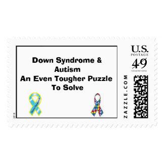 Down Syndrome, Austim Ribbon, Down Syndrome & A... Postage Stamp
