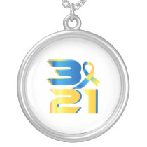Down Syndrome Awareness 21 Silver Plated Necklace