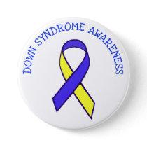 Down Syndrome Awareness Blue Yellow Ribbon Button