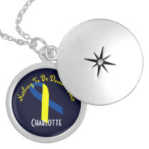Down Syndrome Awareness Blue Yellow Ribbon Locket Necklace