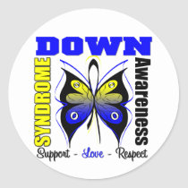 Down Syndrome Awareness Butterfly Classic Round Sticker