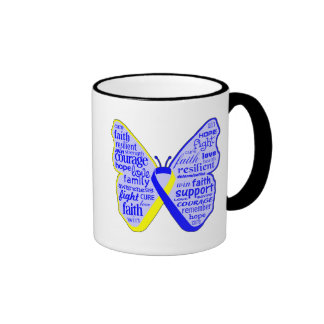 Down Syndrome Awareness Butterfly Ribbon Ringer Coffee Mug
