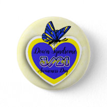 DOWN SYNDROME AWARENESS DAY  March 21 Butterfly Pinback Button