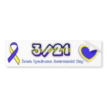 Down Syndrome Awareness Day Ribbon 3/21 Bumper Bumper Sticker
