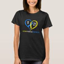 Down Syndrome Awareness Heart Blue Yellow Color T-Shirt