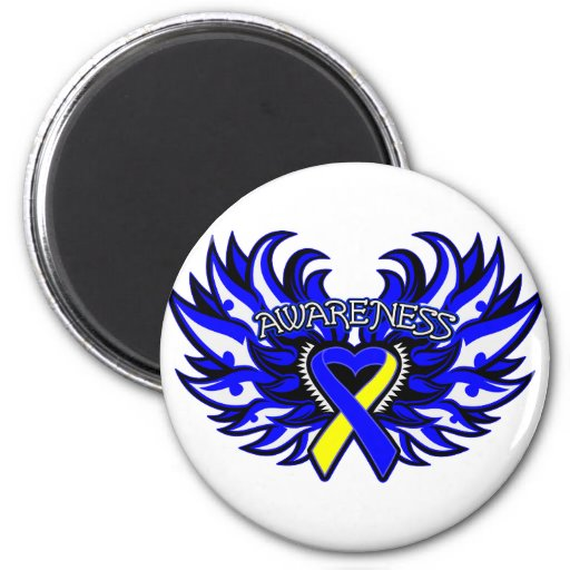 Down Syndrome Awareness Heart Wings 2 Inch Round Magnet