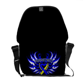 Down Syndrome Awareness Heart Wings Courier Bag
