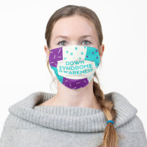 Down Syndrome Awareness in Purple & Teal Adult Cloth Face Mask