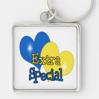 Down Syndrome Awareness Silver-Colored Square Keychain