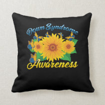 Down Syndrome Awareness Sunflower Butterfly Gift Throw Pillow