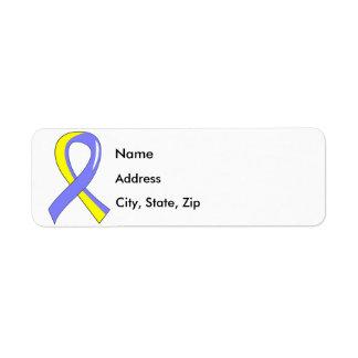 Down Syndrome Blue Yellow Ribbon 3 Label