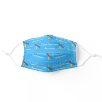 Down Syndrome Blue & Yellow Ribbon Adult Cloth Face Mask