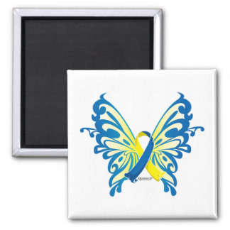 Down Syndrome Butterfly Ribbon 2 Inch Square Magnet