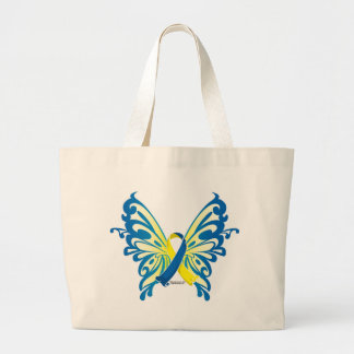 Down Syndrome Butterfly Ribbon Jumbo Tote Bag