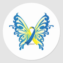 Down Syndrome Butterfly Ribbon Classic Round Sticker