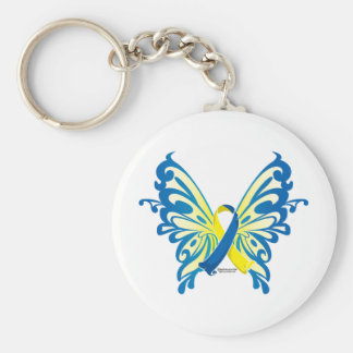 Down Syndrome Butterfly Ribbon Keychain