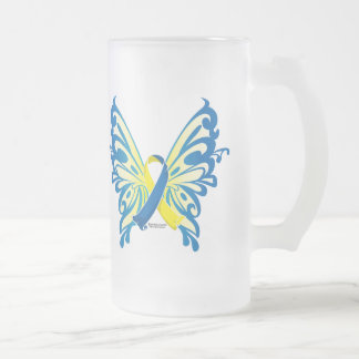 Down Syndrome Butterfly Ribbon 16 Oz Frosted Glass Beer Mug