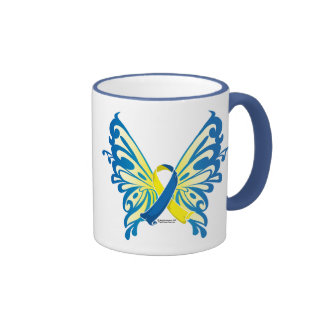 Down Syndrome Butterfly Ribbon Ringer Coffee Mug
