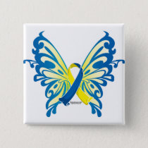 Down Syndrome Butterfly Ribbon Pinback Button