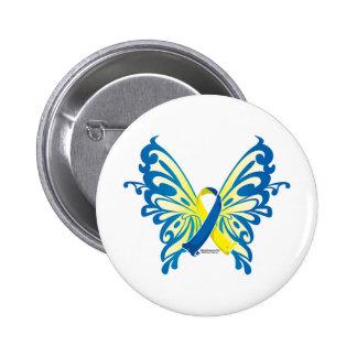 Down Syndrome Butterfly Ribbon Pinback Button