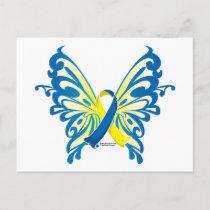 Down Syndrome Butterfly Ribbon Postcard