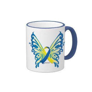 Down Syndrome Butterfly Ribbon Ringer Mug