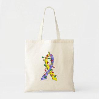 Down Syndrome Christmas Lights Ribbon Tote Bag