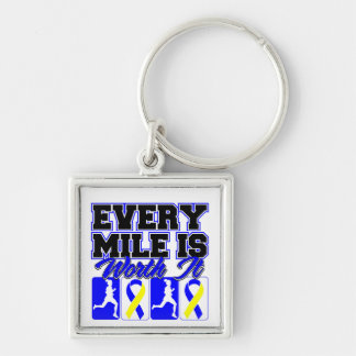 Down Syndrome Every Mile is Worth It Silver-Colored Square Keychain