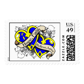 Down Syndrome Hope Faith Dual Hearts Postage Stamps