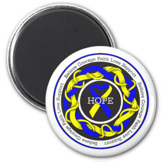 Down Syndrome Hope Intertwined Ribbon 2 Inch Round Magnet