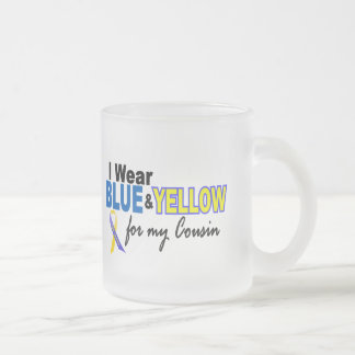 Down Syndrome I Wear Blue & Yellow For My Cousin 2 10 Oz Frosted Glass Coffee Mug