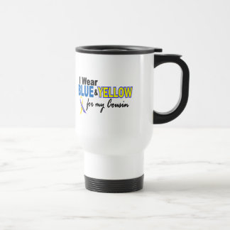 Down Syndrome I Wear Blue & Yellow For My Cousin 2 15 Oz Stainless Steel Travel Mug
