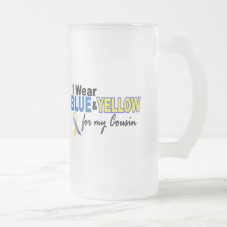 Down Syndrome I Wear Blue & Yellow For My Cousin 2 16 Oz Frosted Glass Beer Mug