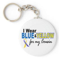 Down Syndrome I Wear Blue & Yellow For My Cousin 2 Keychain