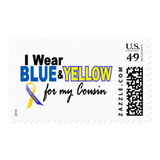 Down Syndrome I Wear Blue & Yellow For My Cousin 2 Stamps