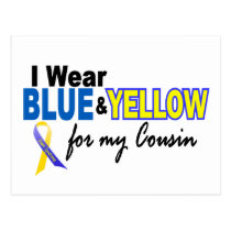 Down Syndrome I Wear Blue & Yellow For My Cousin 2 Postcard