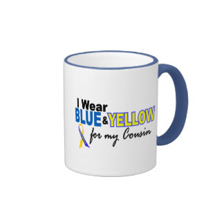 Down Syndrome I Wear Blue & Yellow For My Cousin 2 Ringer Coffee Mug