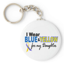 Down Syndrome I Wear Blue & Yellow For My Daughter Basic Round Button Keychain