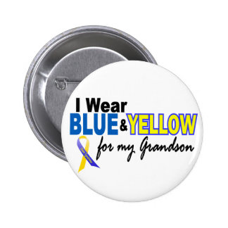 Down Syndrome I Wear Blue & Yellow For My Grandson Pin