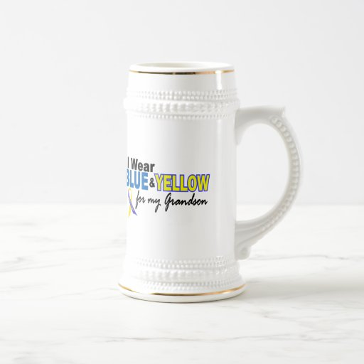 Down Syndrome I Wear Blue & Yellow For My Grandson 18 Oz Beer Stein