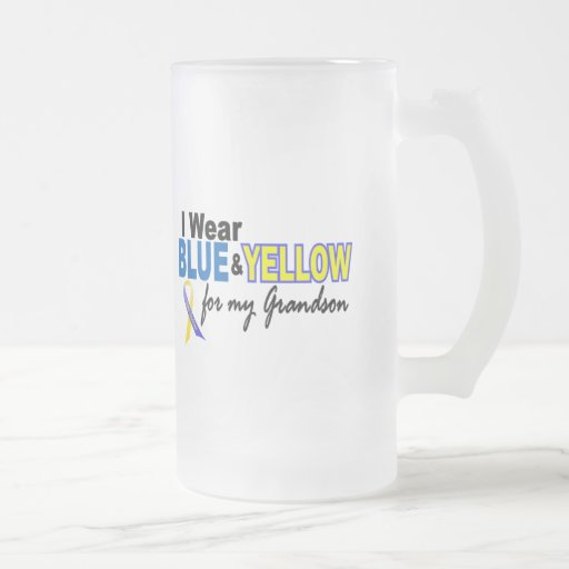 Down Syndrome I Wear Blue & Yellow For My Grandson 16 Oz Frosted Glass Beer Mug