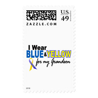 Down Syndrome I Wear Blue & Yellow For My Grandson Stamp