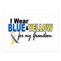Down Syndrome I Wear Blue & Yellow For My Grandson Postcard
