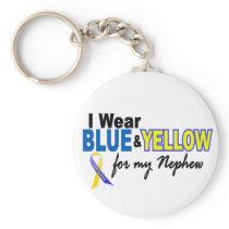 Down Syndrome I Wear Blue & Yellow For My Nephew 2 Keychain