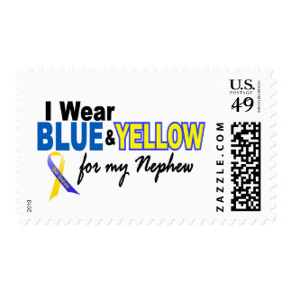Down Syndrome I Wear Blue & Yellow For My Nephew 2 Postage Stamp